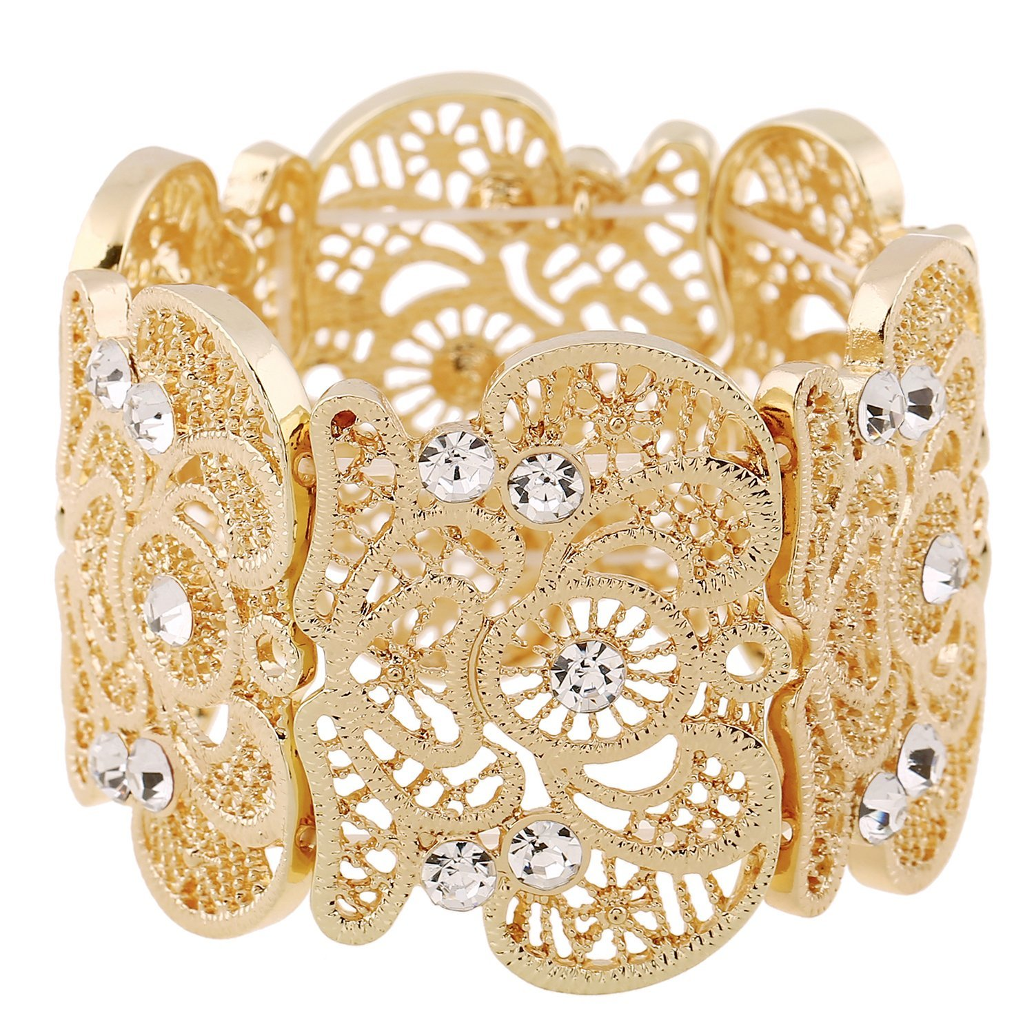 D EXCEED Womens Bohemian Lace Bracelet Vintage Filigree Cuff Bangle Bracelet Wide Stretch Rhinestone Bracelets D Exceed Jewelry BL140003