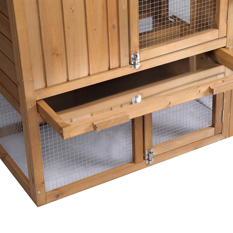 Elightry Gallinero Conejeras de Exterior Madera Jaula Conejos Cobayas Hamster Animales Peque/ños con 2 Pisos 147 x 53 x 85cm YDTL0004
