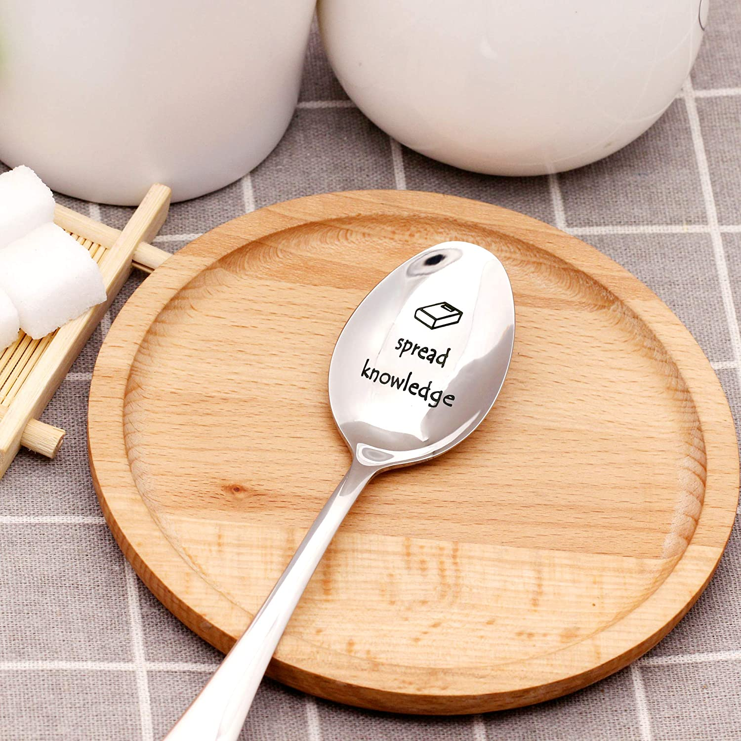 Thank You Teacher Graduation Teachers Day Gifts from Students Soup Spoon,Dinner Spoon Tea Spoon,Coffee Spoon,Ice Cream Spoon 304 Stainless Steel #1 Teacher