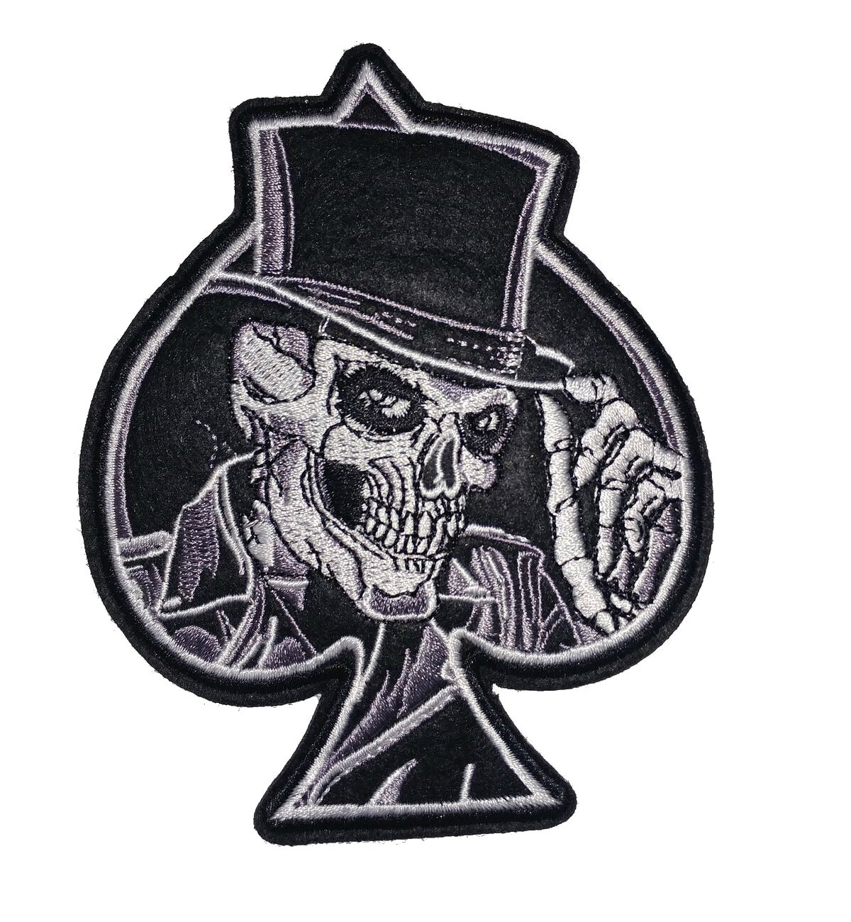 Amazon com ace of spades with skull skeleton black white embroidered jacket vest patch playing cards joker motorcycle biker home kitchen