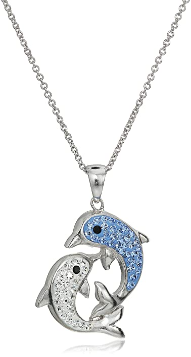 Amazon silver plated crystal dolphins pendant necklace 18 silver plated crystal dolphins pendant necklace 18quot aloadofball Choice Image