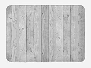 """Lunarable Grey Bath Mat, Picture of Smooth Oak Wood Texture in Old Fashion Retro Style Horizontal Nature Design Home, Plush Bathroom Decor Mat with Non Slip Backing, 29.5"""" X 17.5"""", Grey"""