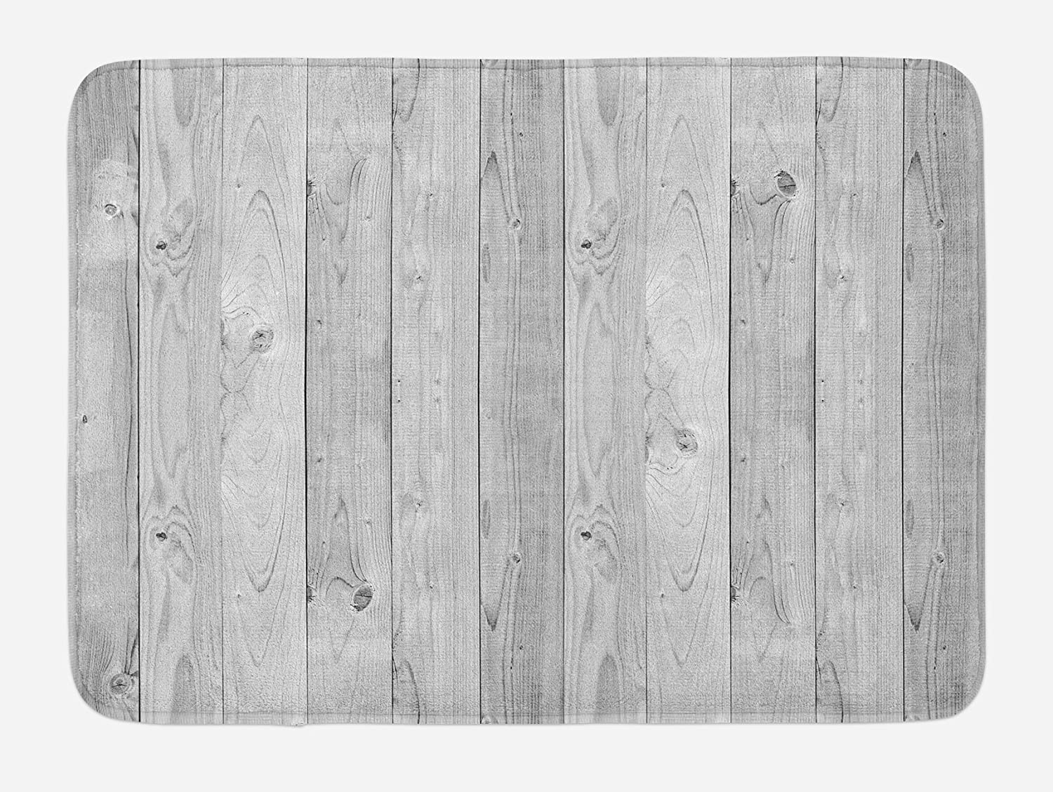 Lunarable Grey Bath Mat Picture of Smooth Oak Wood Texture in Old Fashion Retro Style Horizontal Nature Design Home Gray 29.5 W X 17.5 W Inches Plush Bathroom Decor Mat with Non Slip Backing
