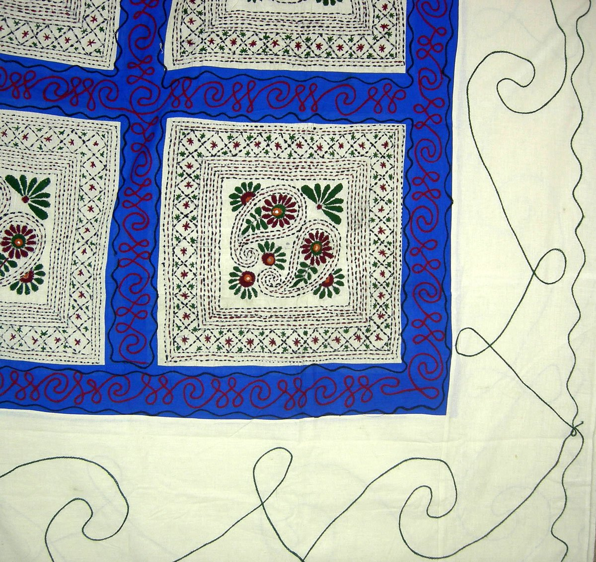 Handcrafted Decor Indian Queen Embroidered Cotton Bed Cover Ethnic Bedroom Decor 84 x 92 inches by ClothesCraft (Image #2)