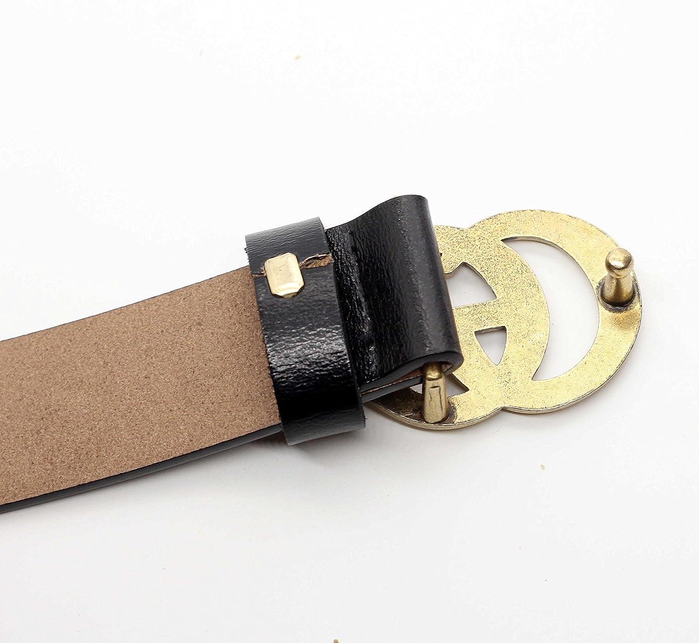 611459adda516 GAGOTE Cinture Donna casual delle cinture di in pelle vera donna per  pantaloni corti pantaloncini estate le donne con fibbia in lega (Nero