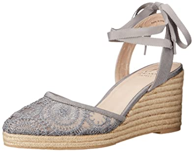Adrianna Papell Women's Penny Espadrille Wedge Sandal, Pewter, ...
