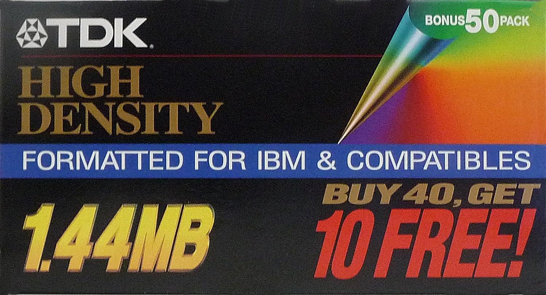 TDK High Density 1.44 MB Formatted for IBM & Compatibles - 50