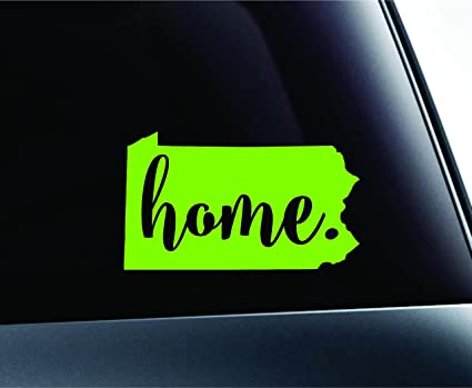 3 Home Pennsylvania State Harrisburg Symbol Sticker Decal Car Truck Window Computer Laptop Lime Green