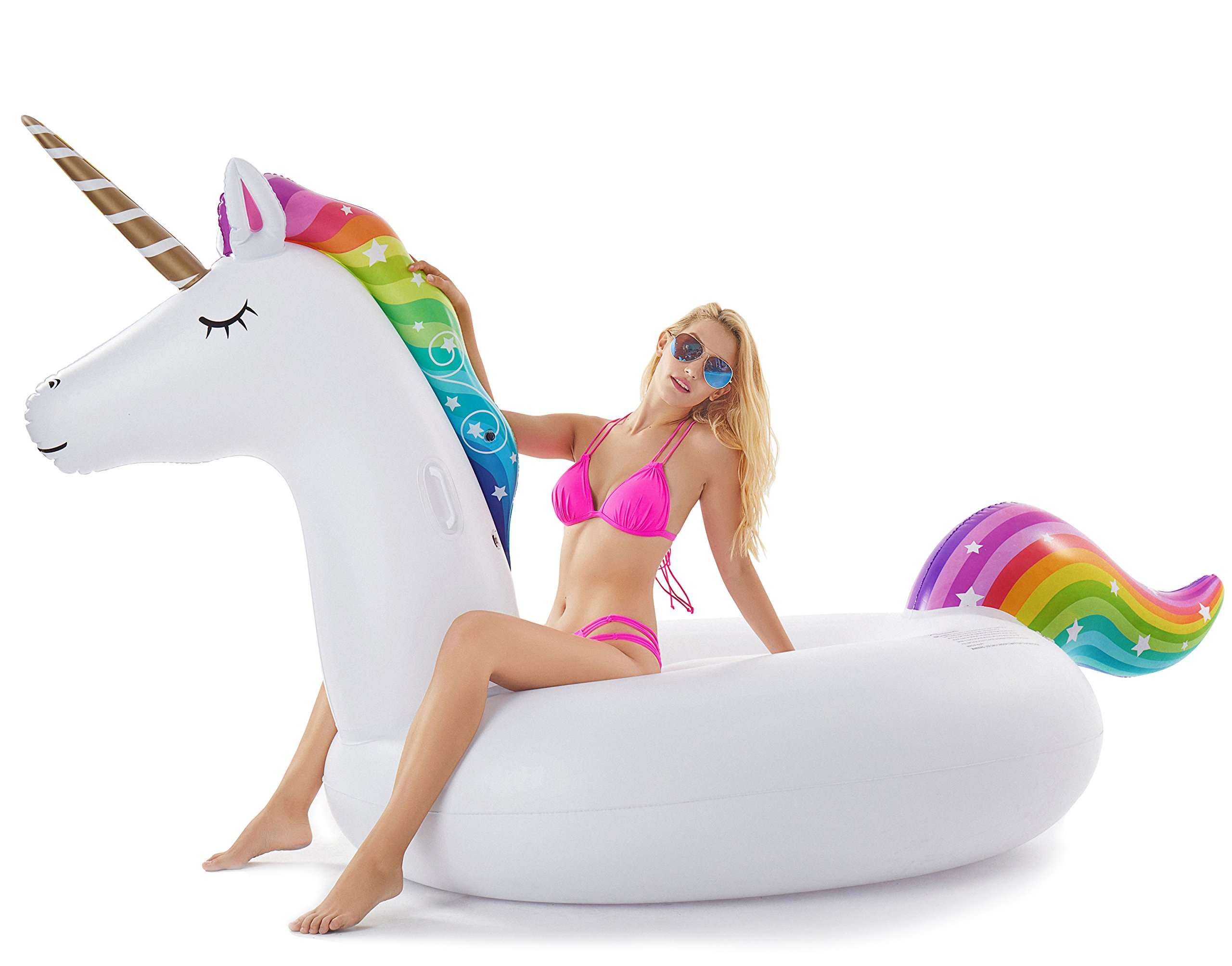 Jasonwell Giant Inflatable Unicorn Pool Float Floatie Ride On with Fast Valves Large Rideable Blow Up Summer Beach Swimming Pool Party Lounge Raft Decorations Toys Kids Adults by Jasonwell