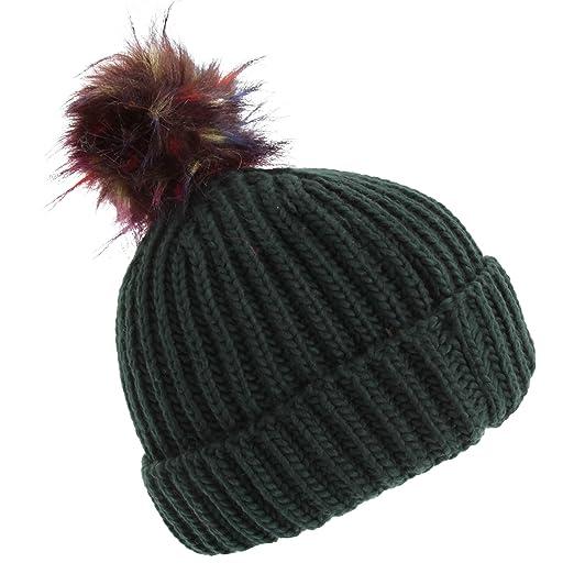 5ae01230ed8 Foxbury Womens Ladies Chunky Faux Fur Bobble Hat (One Size) (Burgandy)   Amazon.co.uk  Clothing