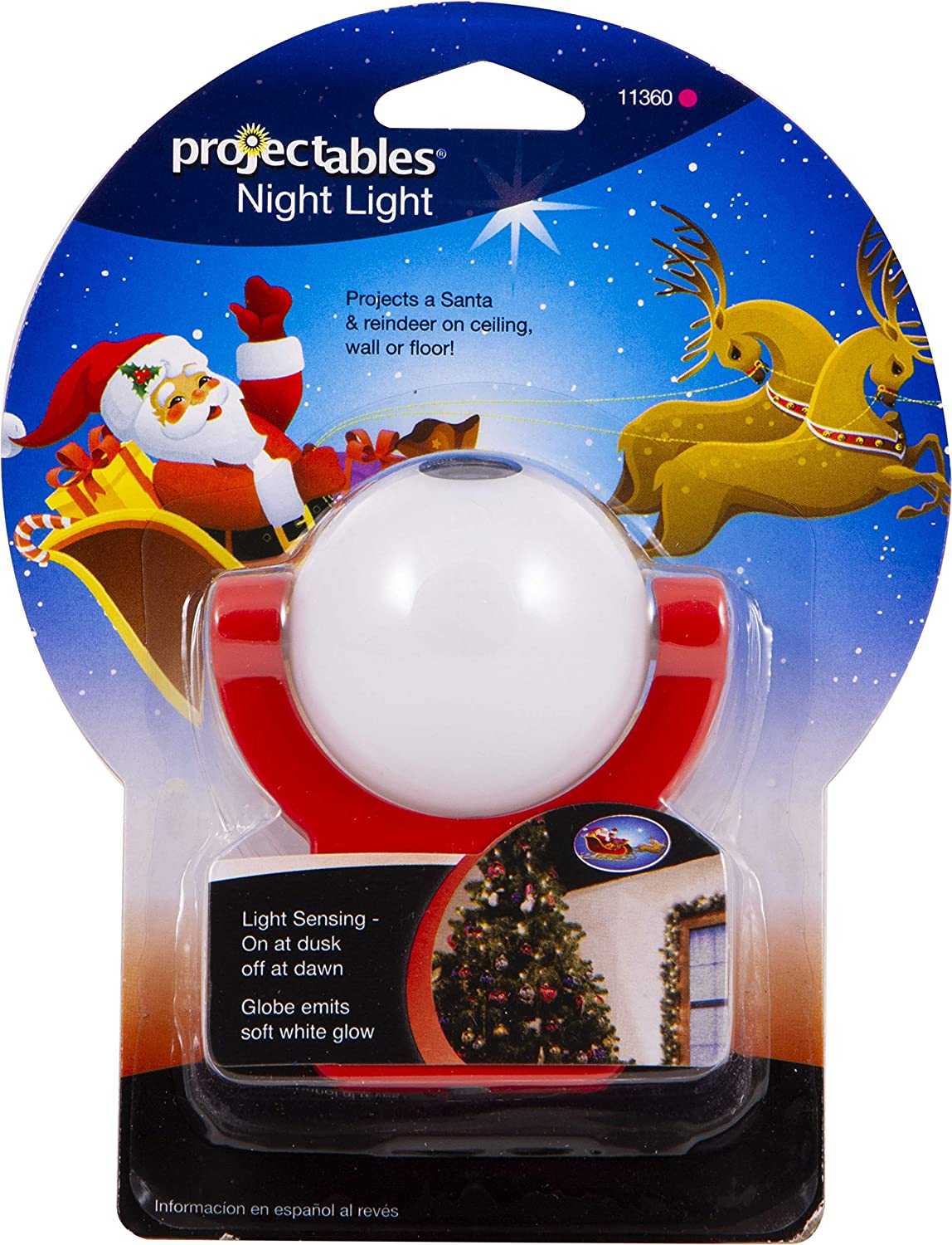 Light Sensing Auto On//Off Projectables 11360 Santa /& Reindeer LED Plug-In Night Light Projects Christmas Image of Santa Claus and Reindeer on Ceiling Wall or Floor