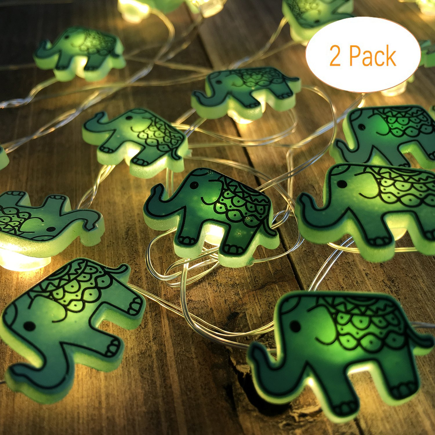 Animal Novelty Lights String Battery Operated with Timer Control 20 Micro LED Wire Lights Waterproof 2 Pack Elephant String Lights for Home Decoration,Kids Bedroom,Christmas,Holiday,(ELE2) by VagaryLight (Image #1)