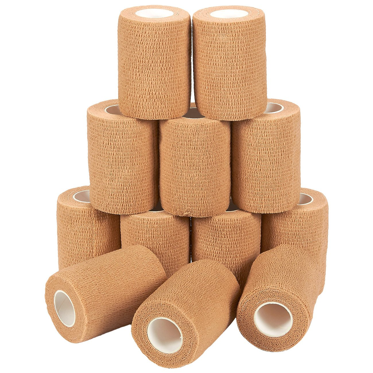 Self Adherent Wrap - 12 Pack of Cohesive Bandage Medical Vet Tape in Tan for First Aid, Sports, Wrist, Ankle, 3 Inches x 5 Yards by Juvale