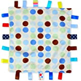 Blue Dot Baby Tag Blanket - White with Blue Polka Dot Taggy blanket with Plain Blue Textured Underside