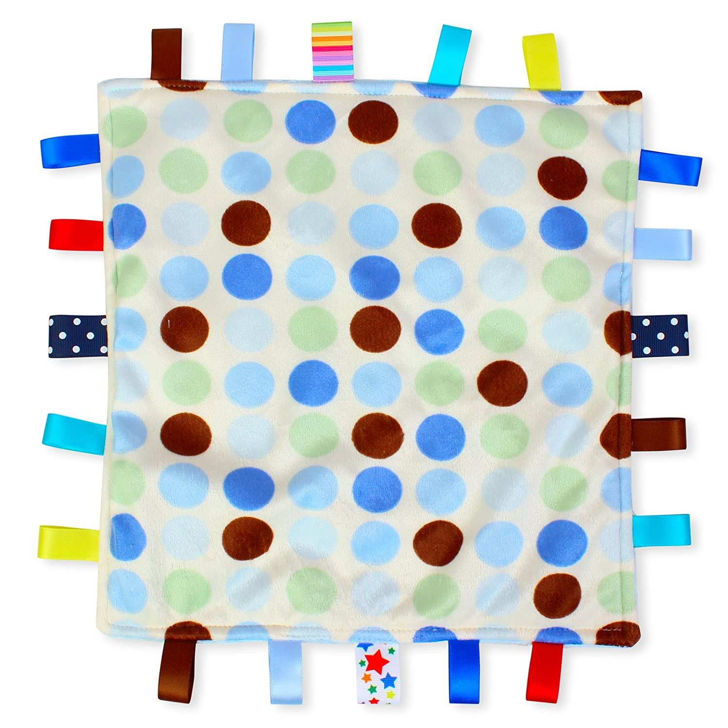 Blue Dot Baby Tag Blanket - White with Blue Polka Dot Taggy blanket with Plain Blue Textured Underside For the Love of Leisure