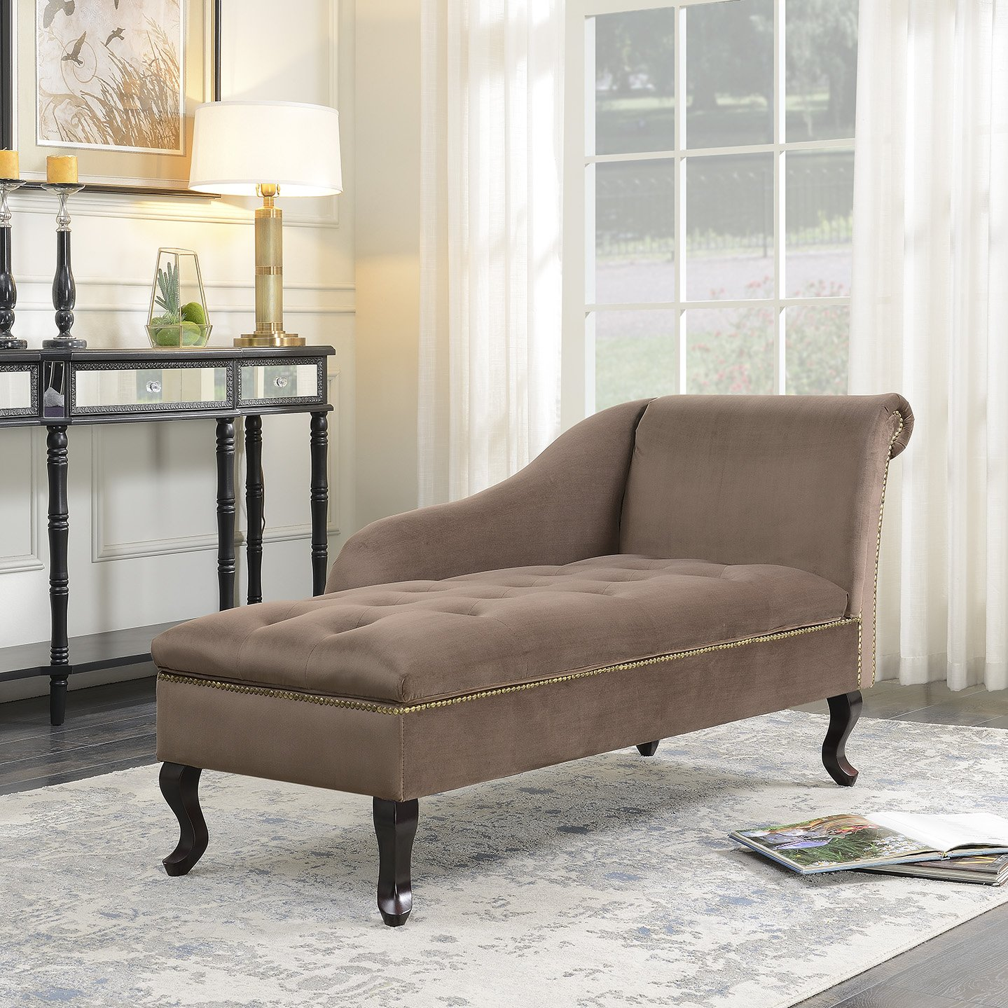 Belleze Velveteen Tufted Open Fold Spa Chaise Lounge Chiar Couch for Living Room Gold Nailhead Trim with Storage, Brown