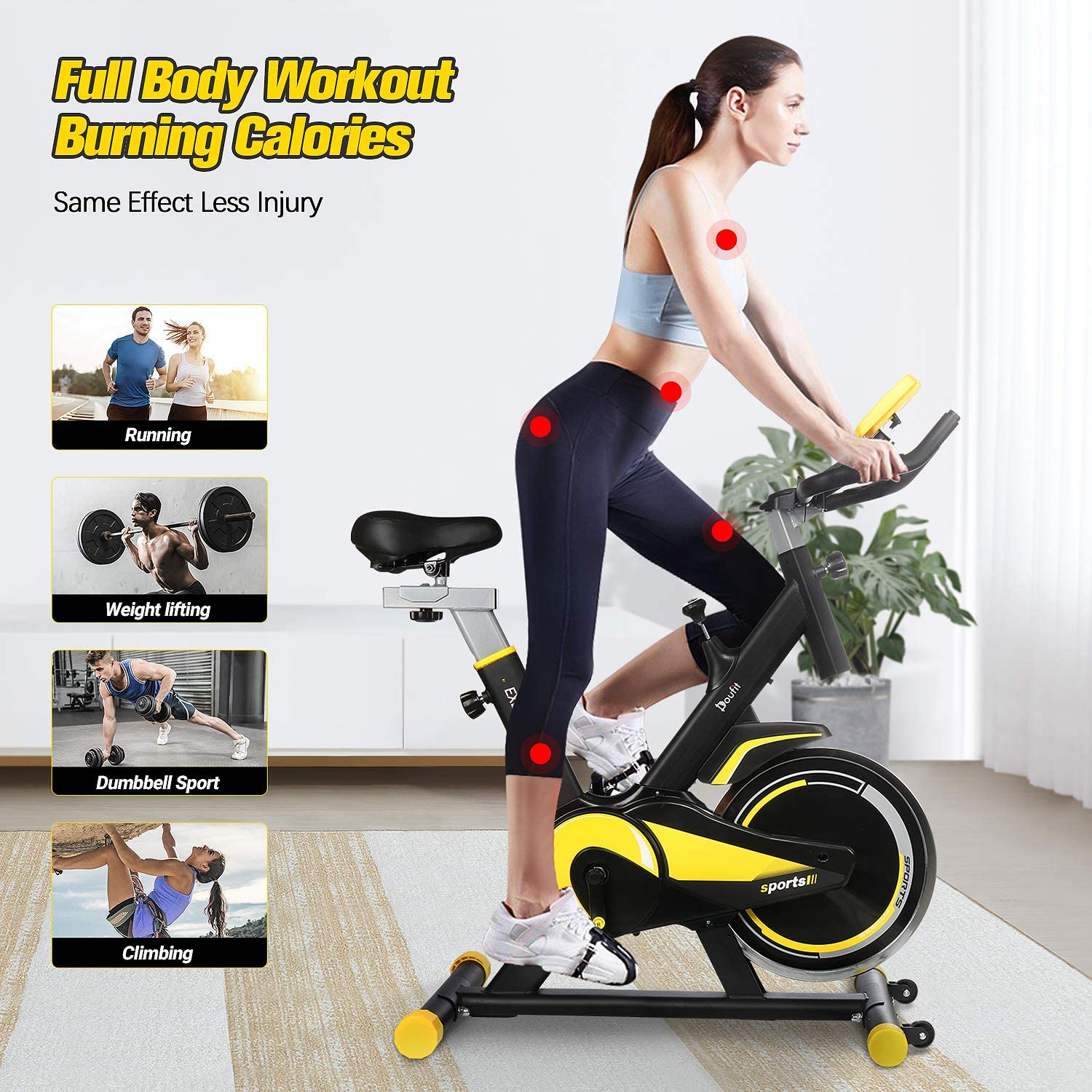Doufit Recumbent Exercise Bike Fitness Stationary Bicycle Cardio Workout Indoor