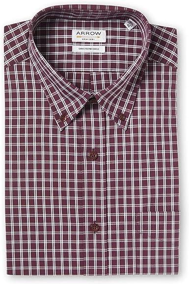 Arrow - Camisa de confort sin planchar, color burdeos granate ...