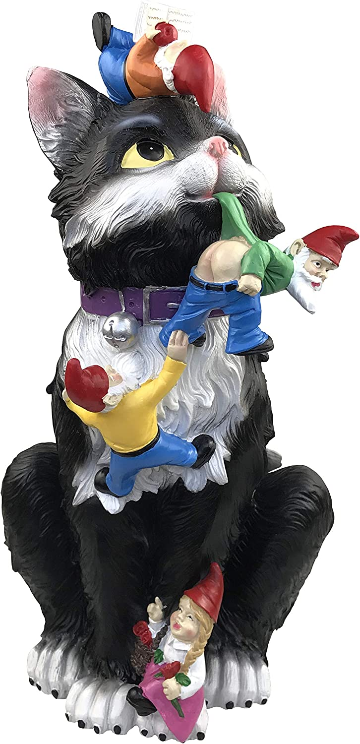 By Mark & Margot Garden Gnome Statue Cat Gnomes Losing Pants Mooning Gnome Scuplture - Beautiful and Funny for Indoors or Outdoor Home Decor Patio Yard Deck Porch or Walkways (Black)