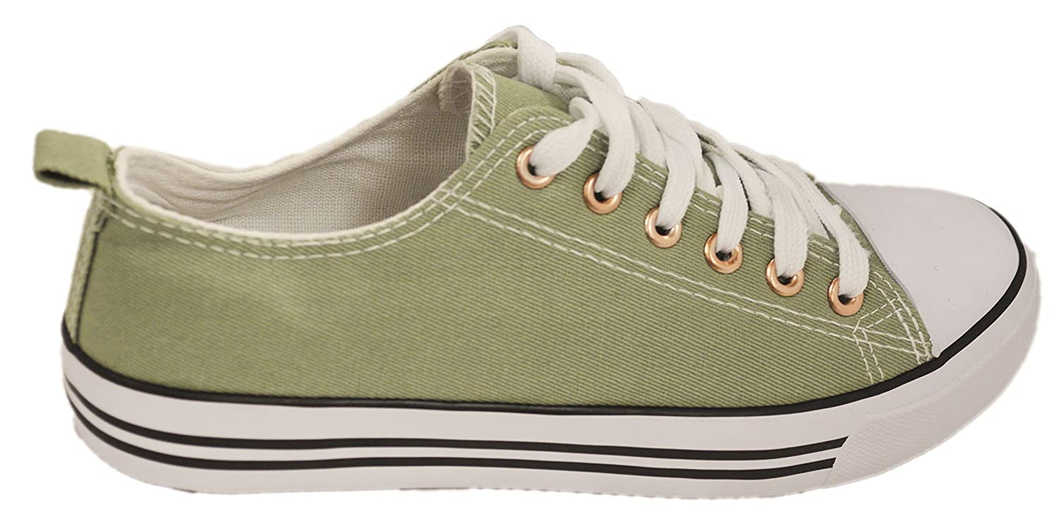 Shop Pretty Girl Women's Sneakers Casual Canvas Shoes Solid Colors Low Top Lace up Flat Fashion 2.0 B07F3MHCSJ 8 B(M) US|Light Olive