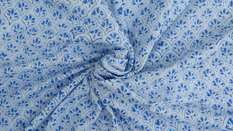 Trade Star 5 Yard Indian Block Print Fabric 100% Cotton Fabric for Sewing Natural Print Fabric for Baby Clothing Ethnic Fabric for Living Room Decor (Pattern 5, 5 Yard)