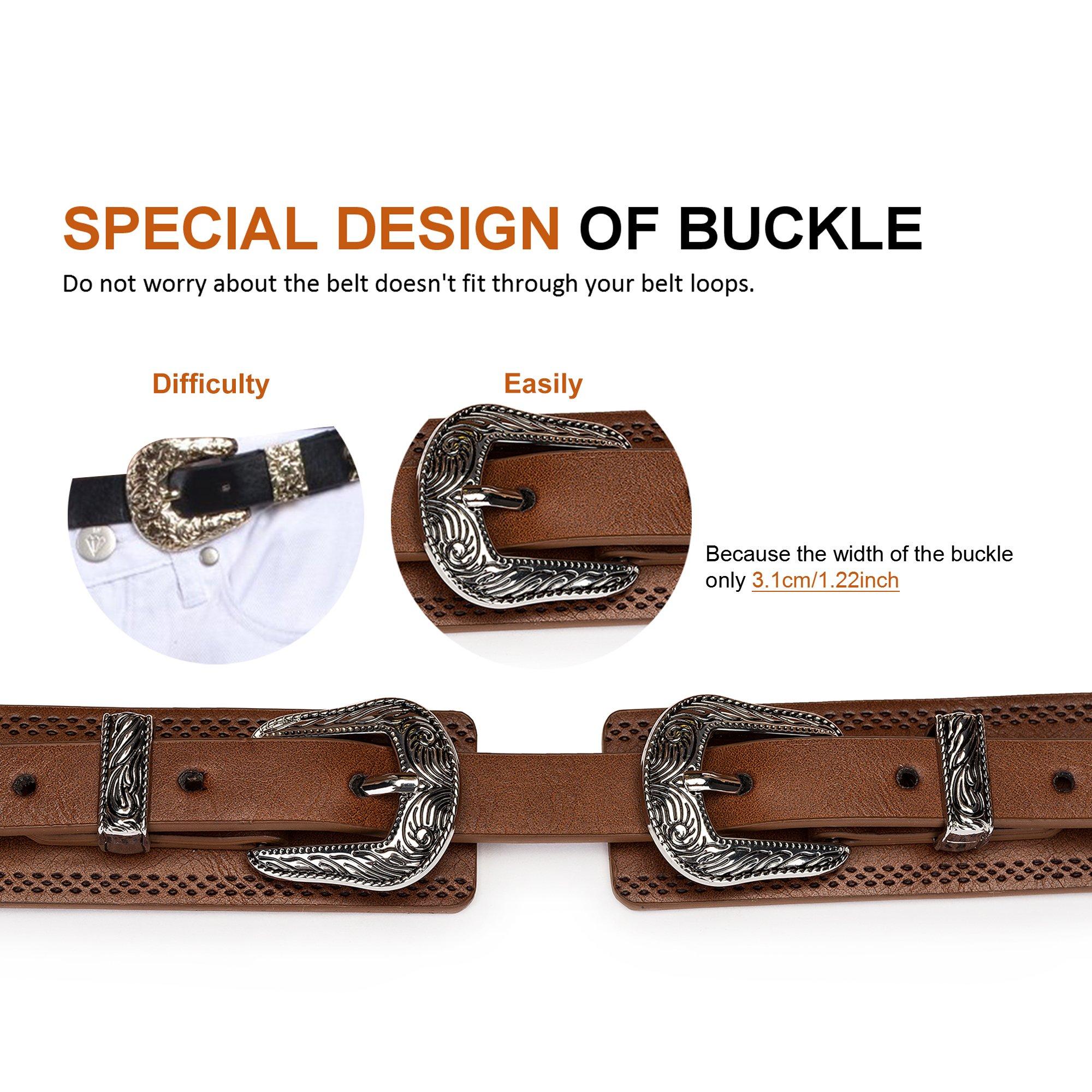 Tanpie Western Leather Belt for Women Boho Waist Belt with Designer Metal Double Buckle Yellow Brown L by Tanpie (Image #4)