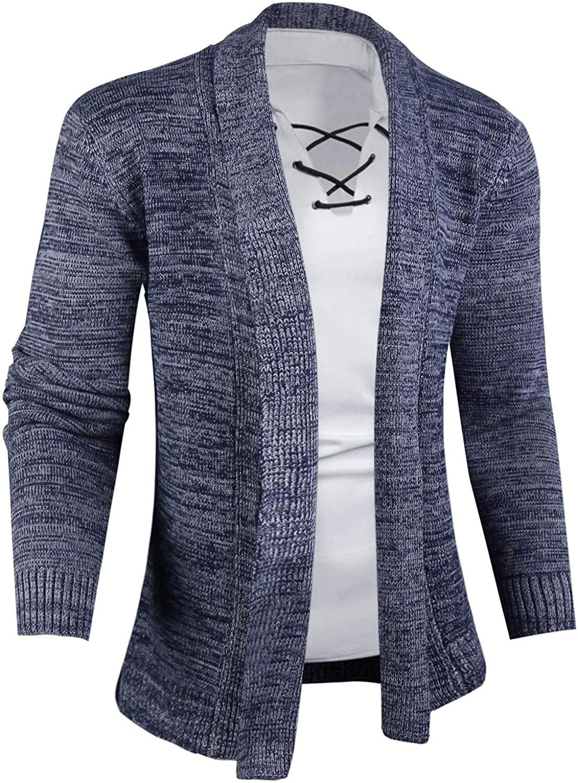 Abollria Mens Open Front Shawl Collar Cardigan Sweater Casual Long Sleeve with Ribbing Edge Cardigan
