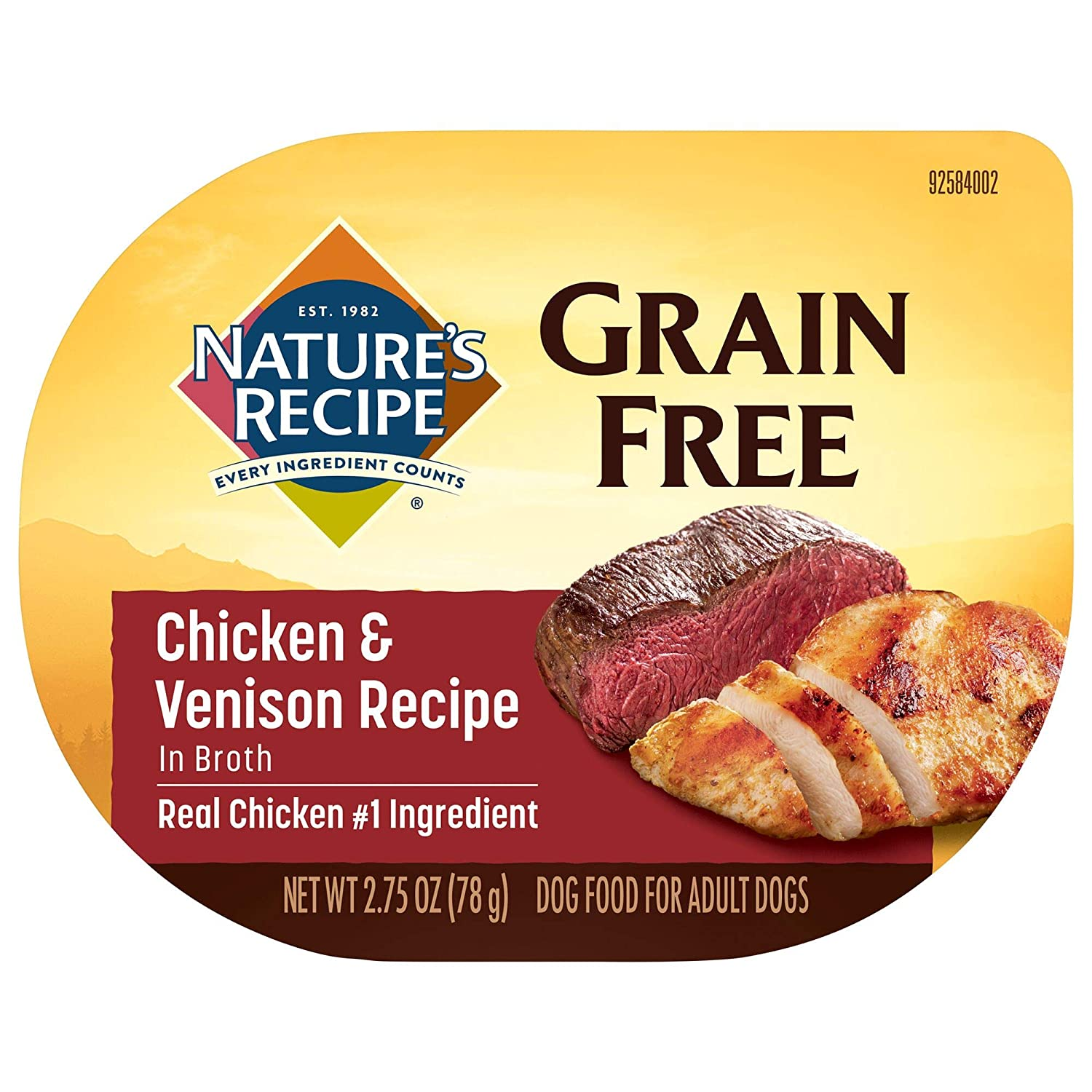 Nature's Recipe Easy to Digest Wet Dog Food, Chicken & Venison in Broth Recipe, 2.75 Ounce Cup (Pack of 12), Grain Free (Packaging May Vary)