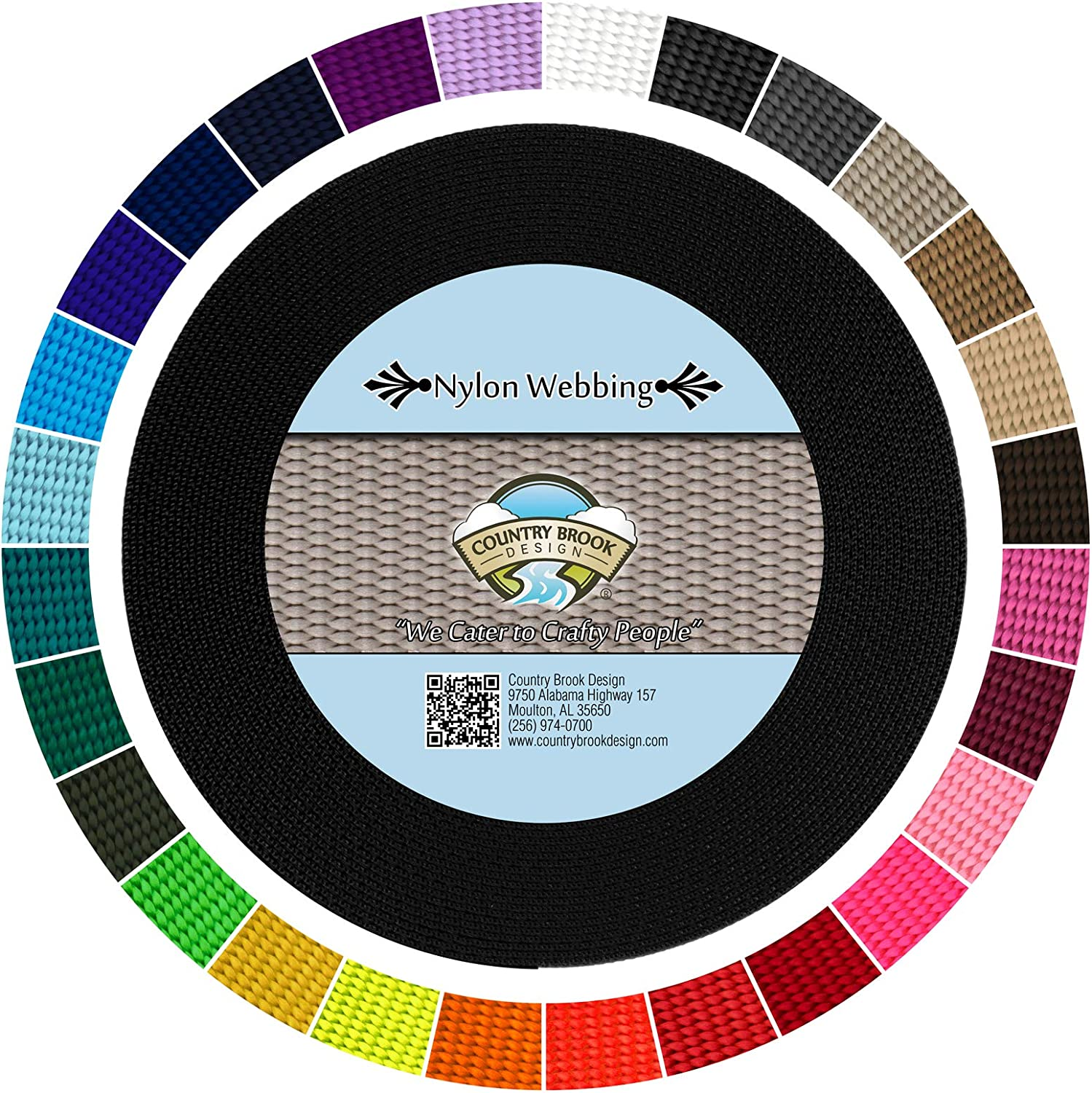 Country Brook Design - Durable 5/8 Inch Heavy Nylon Webbing - 29 Vibrant Colors