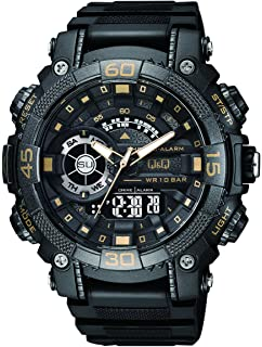 Q&Q SPORTY DOUBLE TIME MENS WATCH QUARTZ ANALOG DIGITAL WRIST WATCH WITH PU BAND