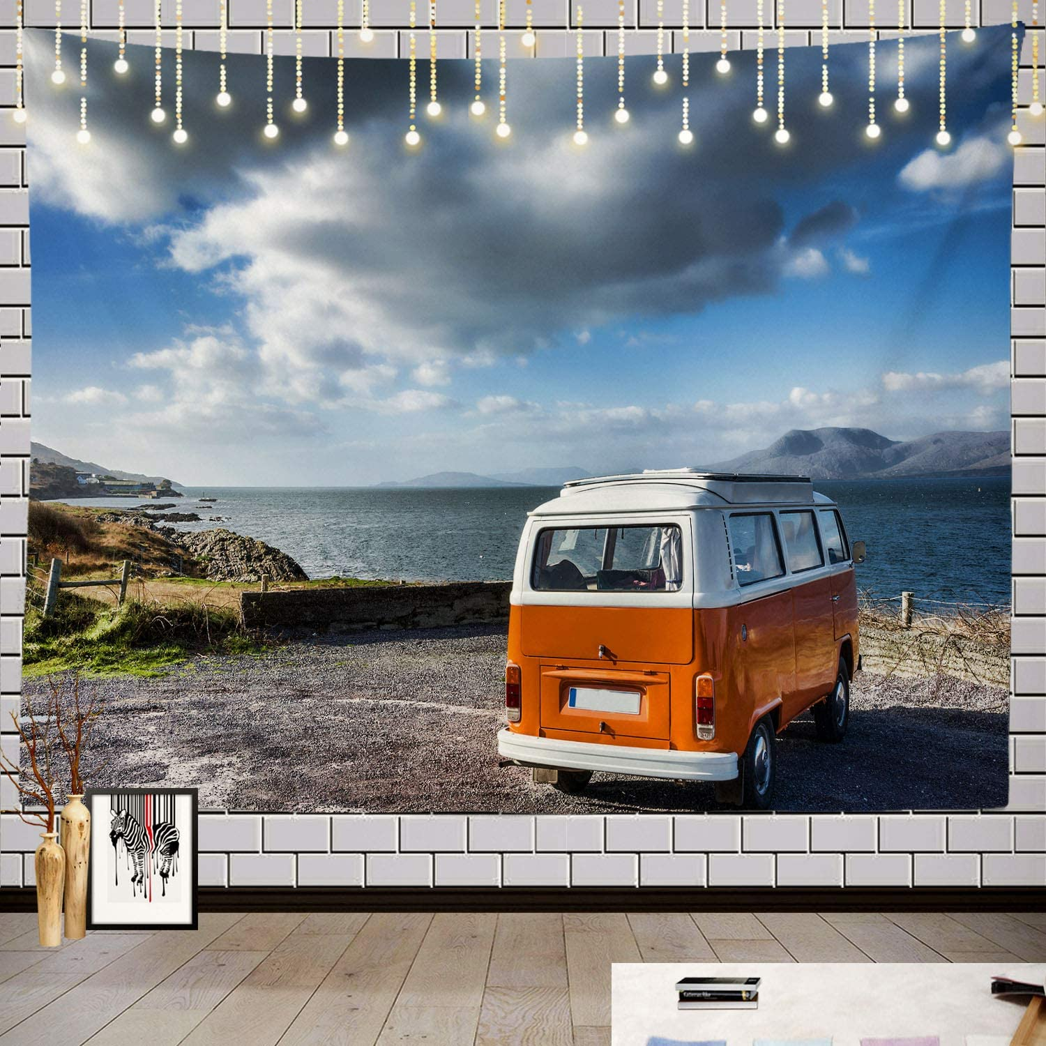 Batmerry Vintage Camping Tapestry, November Vintage Camper Wild Way Bus Camping Picnic Mat Beach Towel Wall Art Decoration for Bedroom Living Room Dorm, 51.2 x 59.1 Inches, Green Orange White