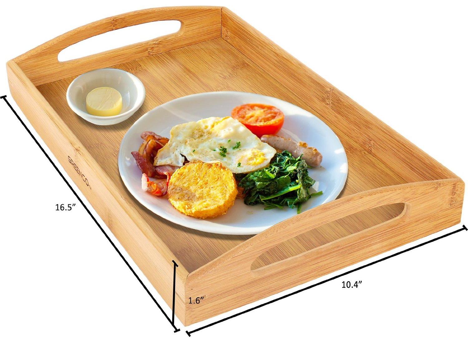 Greenco Rectangle Bamboo Butler Serving Tray With Handles by Greenco (Image #3)