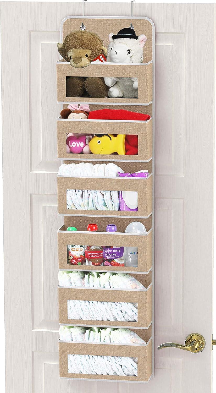 Simple Houseware Over Door/Wall Mount 6 Clear Window Pocket Organizer, Beige