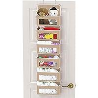 SimpleHouseware Baby Over The Door Hanging Organizer Storage, Beige, 6 Clear Window Pocket