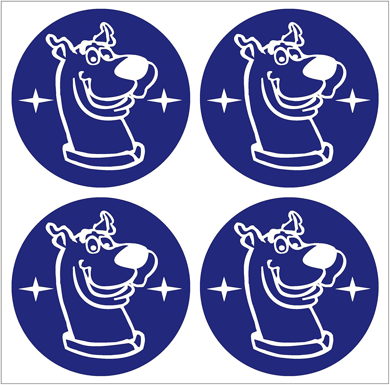 ALLOY WHEEL CAP SCOOBY DOO CENTRE STICKERS X4 BLUE WHITE (55MM) SCOOBY DESIGNS