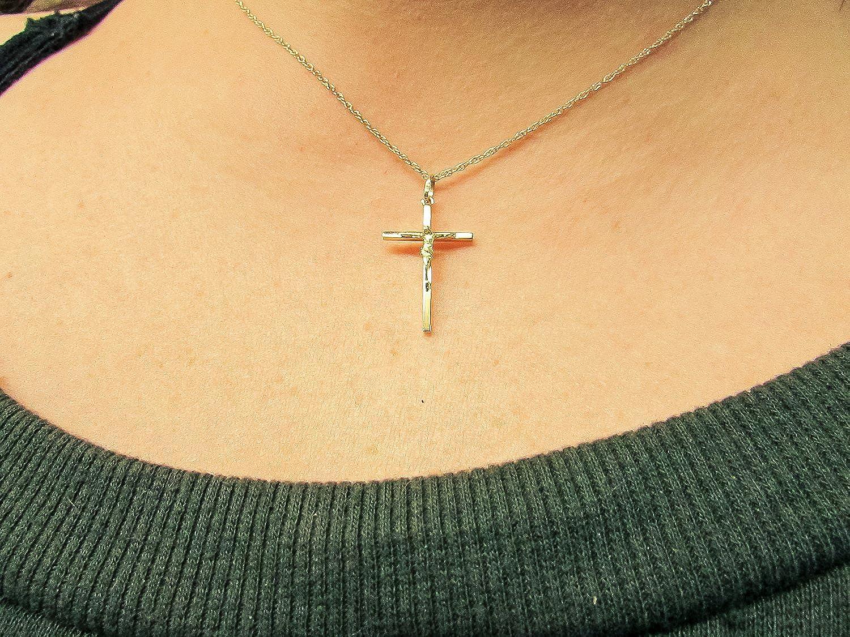 25mm x 15mm LooptyHoops 14K Yellow Gold Classic Crucifix Cross Pendant
