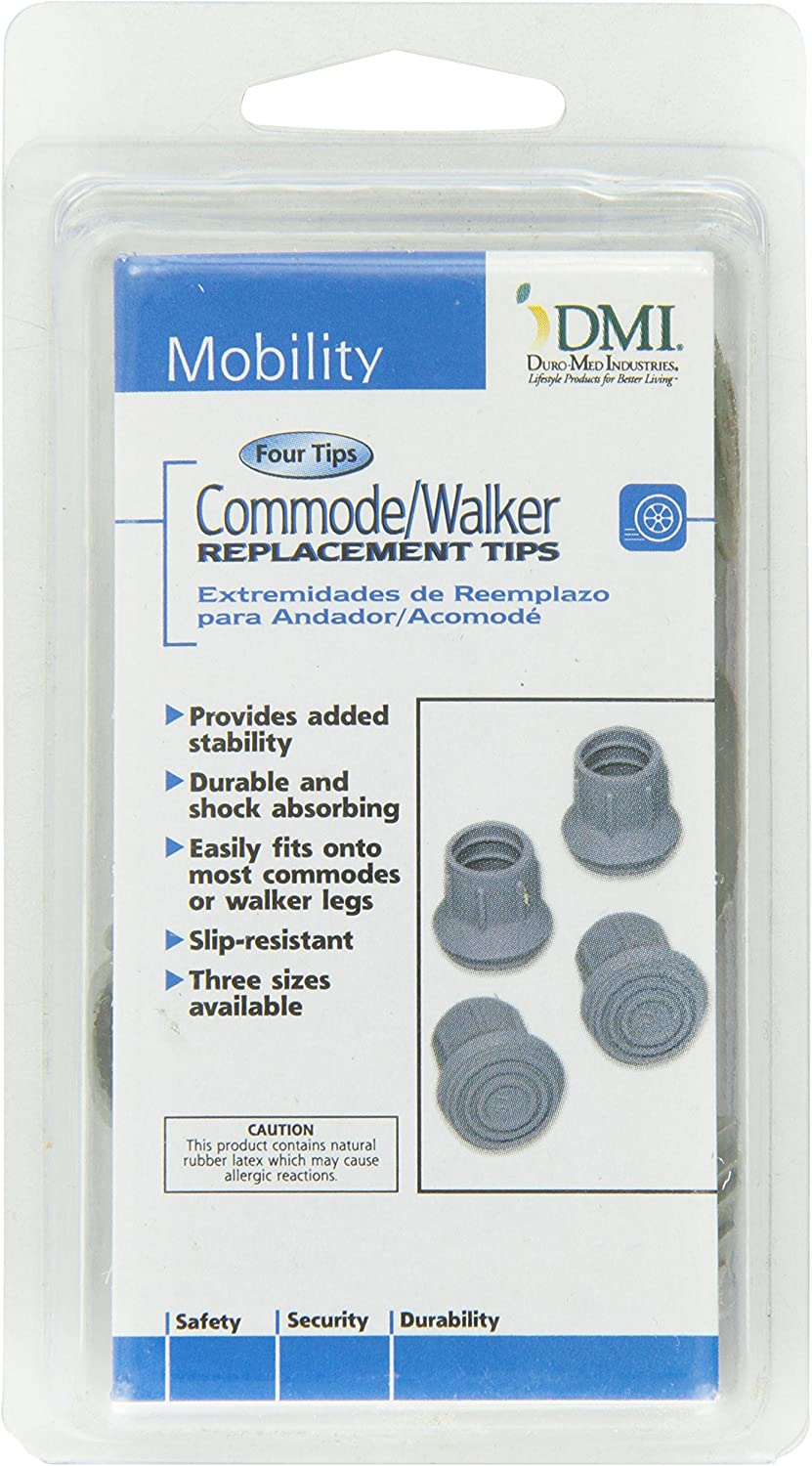 DMI Durable Replacement Quad Cane Tips, 1/2 Inch, 4 per Box, Black