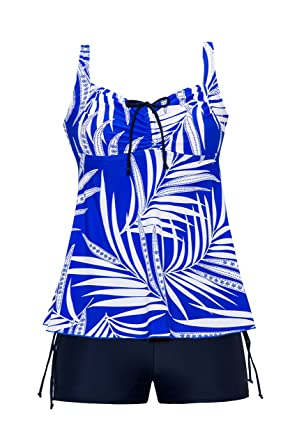 a4da03c40a3 Saejous Women Retro Printed Tankini Blouson Floral Tank Top Bathing Suit  Two Piece Swimsuit Blue