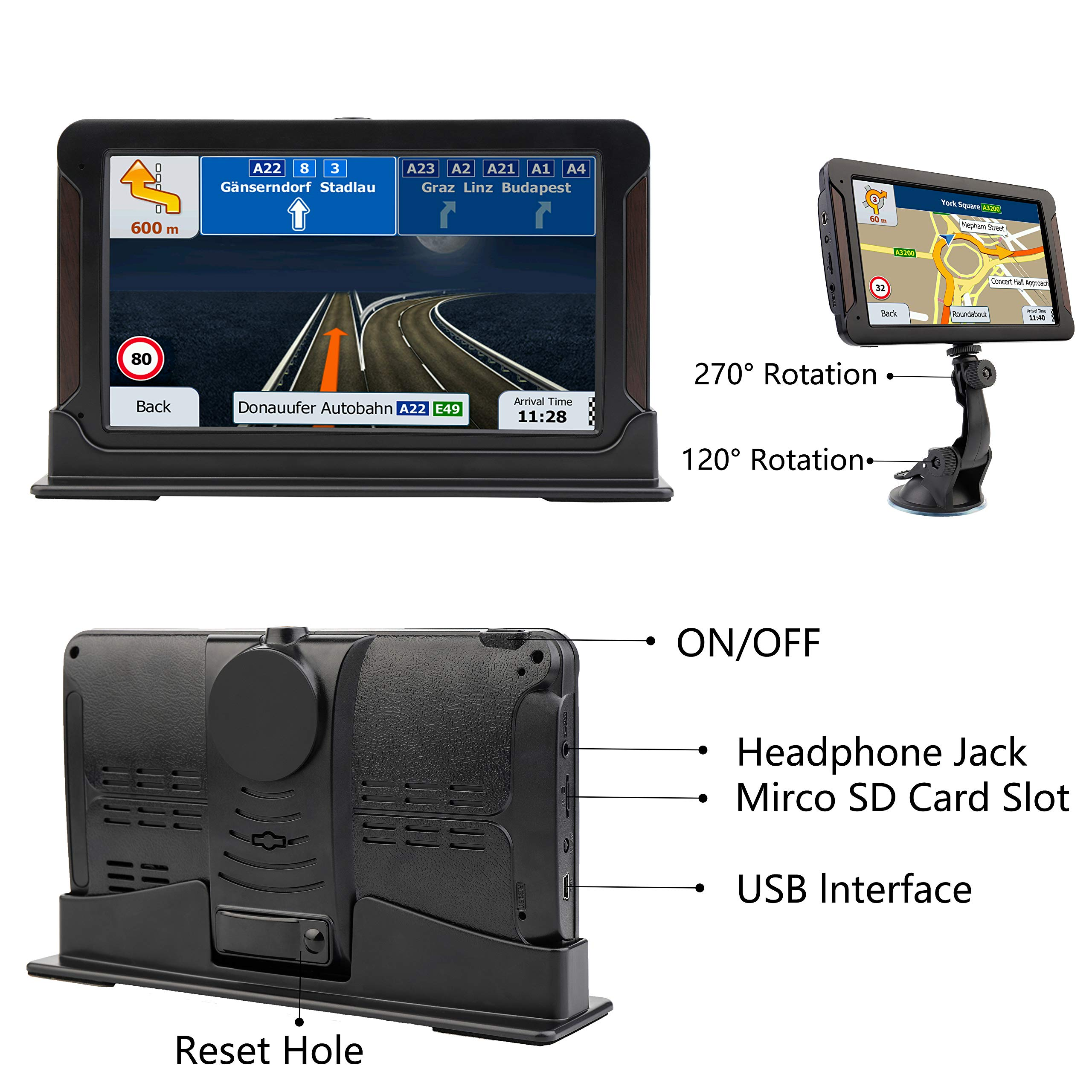AONEREX GPS Navigation 7inch HD-8GB 256Mb Car GPS Navigation, Voice Traffic Warning,Speed Limit Reminder Satellite Navigation System with Non-Slip Car Bracket Holder-Lifetime Free Map Updates by Aonerex (Image #4)