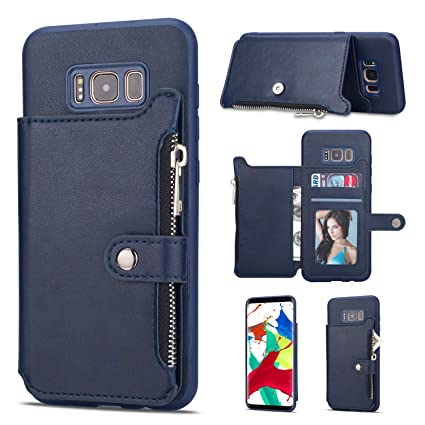 8a6e92496955 Amazon.com: Leather Zipper Back Wallet Case for Samsung Galaxy S8 ...