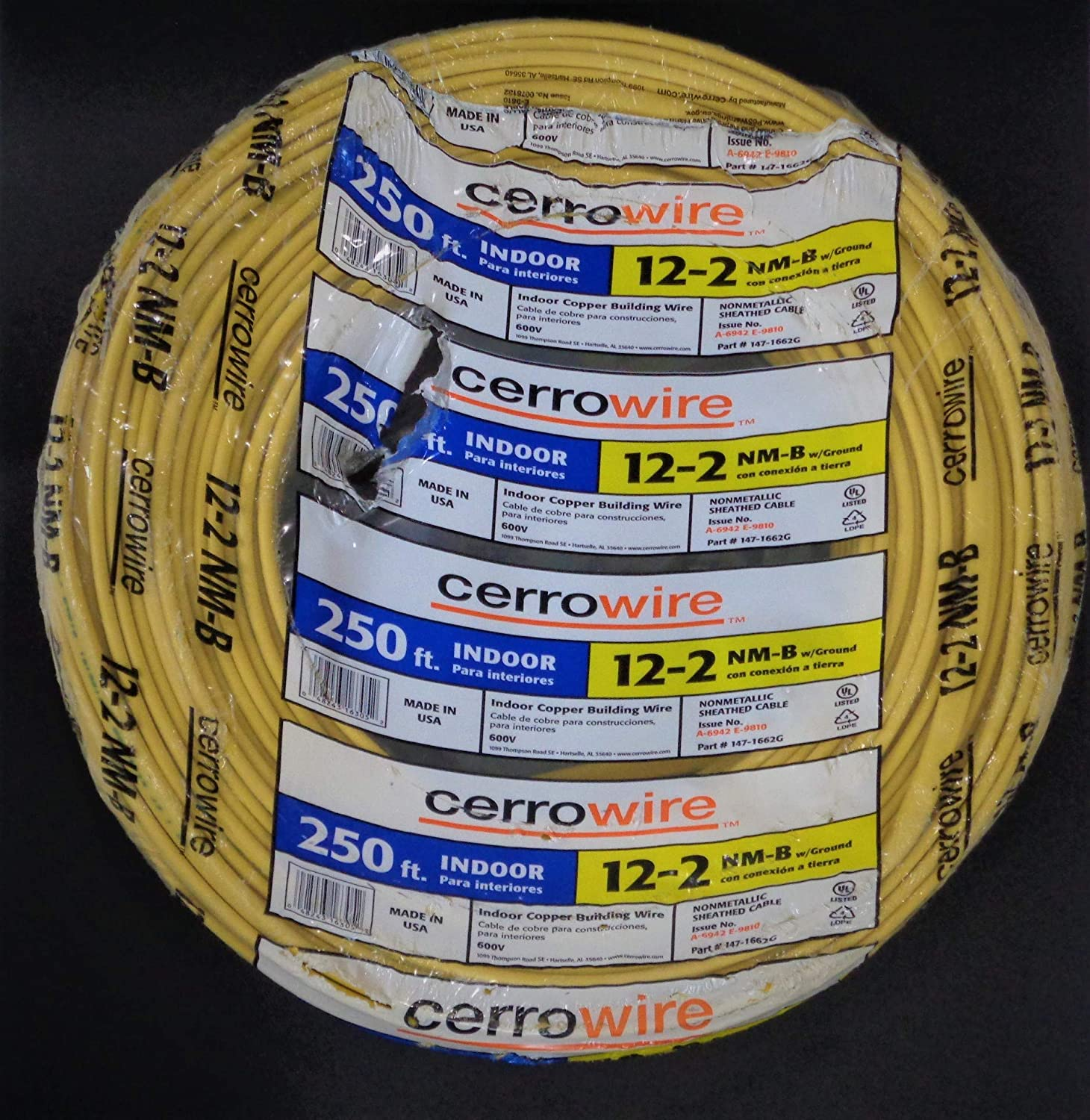 250-Ft Roll 14-2 AWG NM-B  Indoor Electrical Copper Wire Ground Romex CME wire