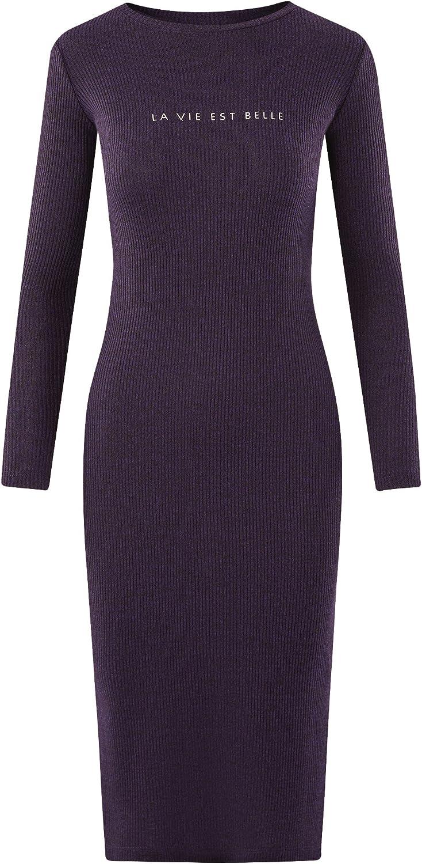 oodji Ultra Mujer Vestido Midi Texturizado: Amazon.es: Ropa y ...