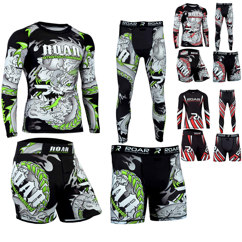 Roar MMA Rash Guard BJJ Training Shorts UFC Compression Leggings (Darken Green 2Pcs Set, Small)