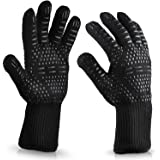 Kyerivs BBQ Cooking Gloves, Extreme Heat Resistant Gloves, Protection up to 932°F, Flexible Safe Oven Mitts for Grilling, Cooking, Baking(Black)