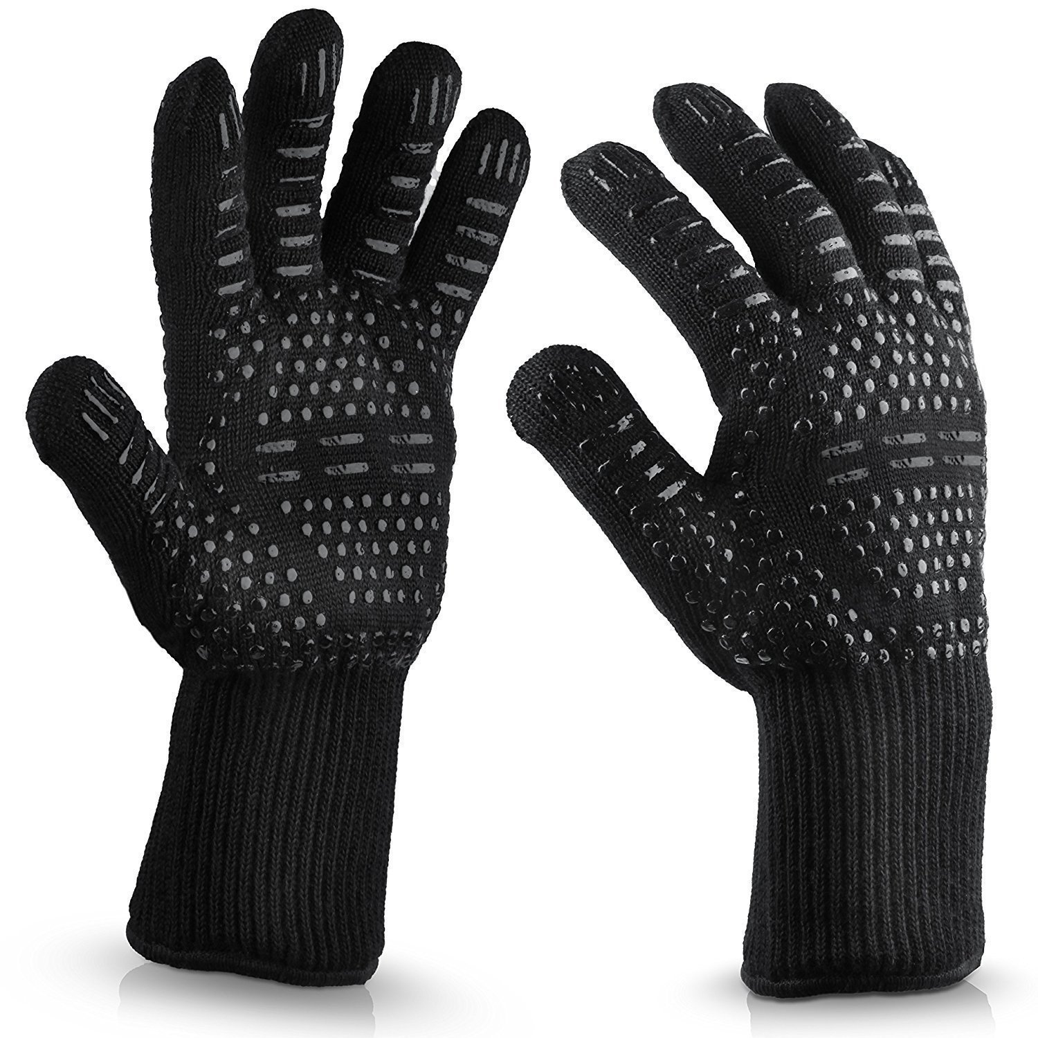 Kyerivs BBQ Cooking Gloves, Extreme Heat Resistant Gloves, Protection up to 932°F, Flexible Safe Oven Mitts for Grilling, Cooking, Baking(Black) Baking(Black)