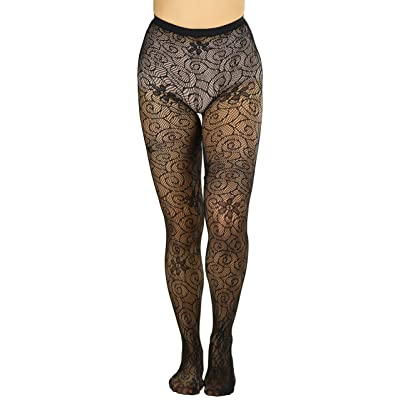 ToBeInstyle Women's Sexy Daisy with Swirl Fishnet Tights - Black - One Size at Women's Clothing store