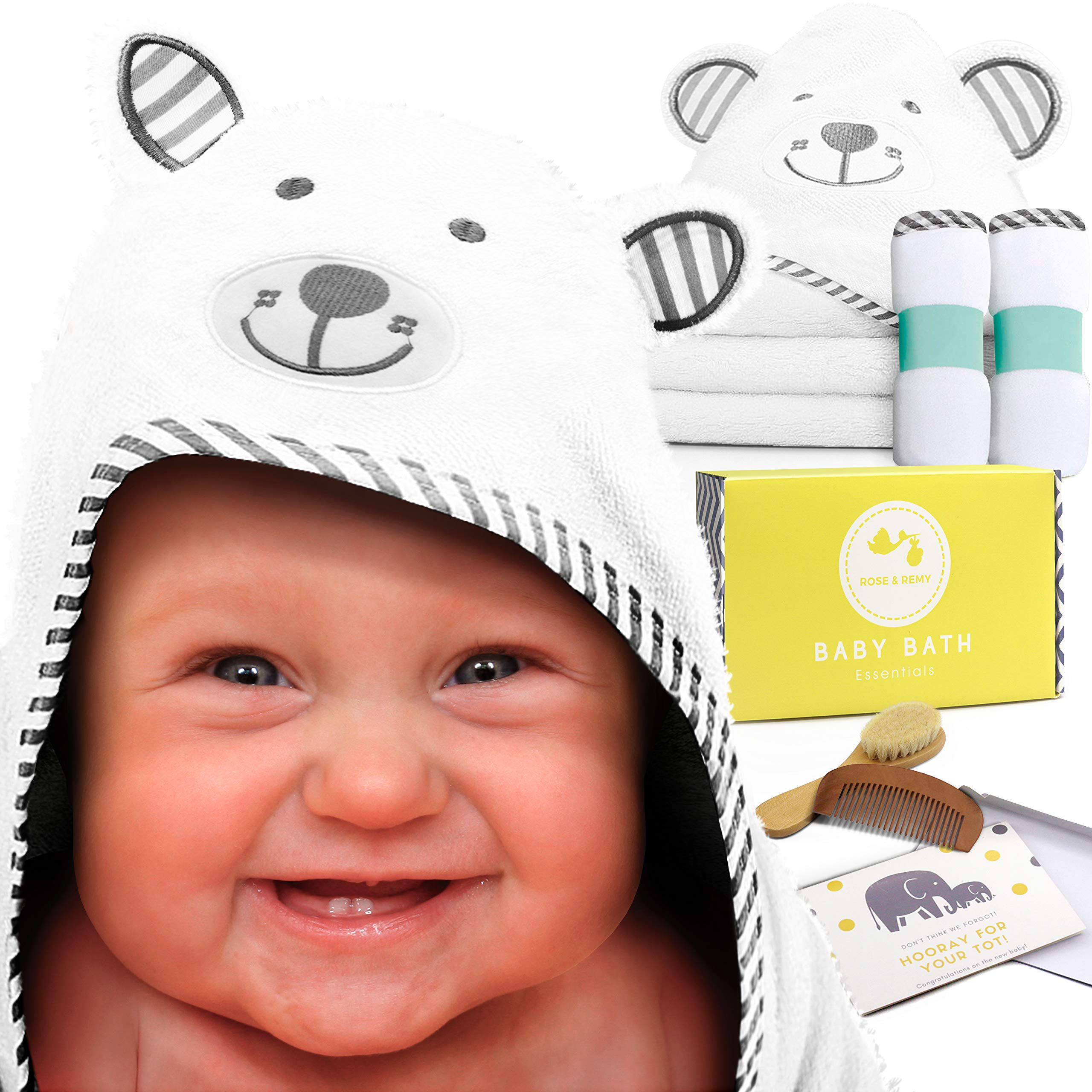 Baby Bath Essentials by Rose & Remy - Bamboo Hooded Towel & Washcloth Gift Set - Unique Baby Shower Registry Present for Newborn Boys or Girls! Bonus Wooden Baby Brush & Comb Included! by Maven Supply Co