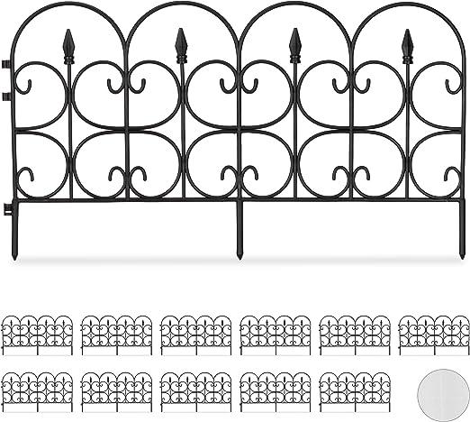 Relaxdays Set de Doce Vallas Decorativas para jardín, Altura de 30 cm, Longitud de 8 m, Negro: Amazon.es: Jardín