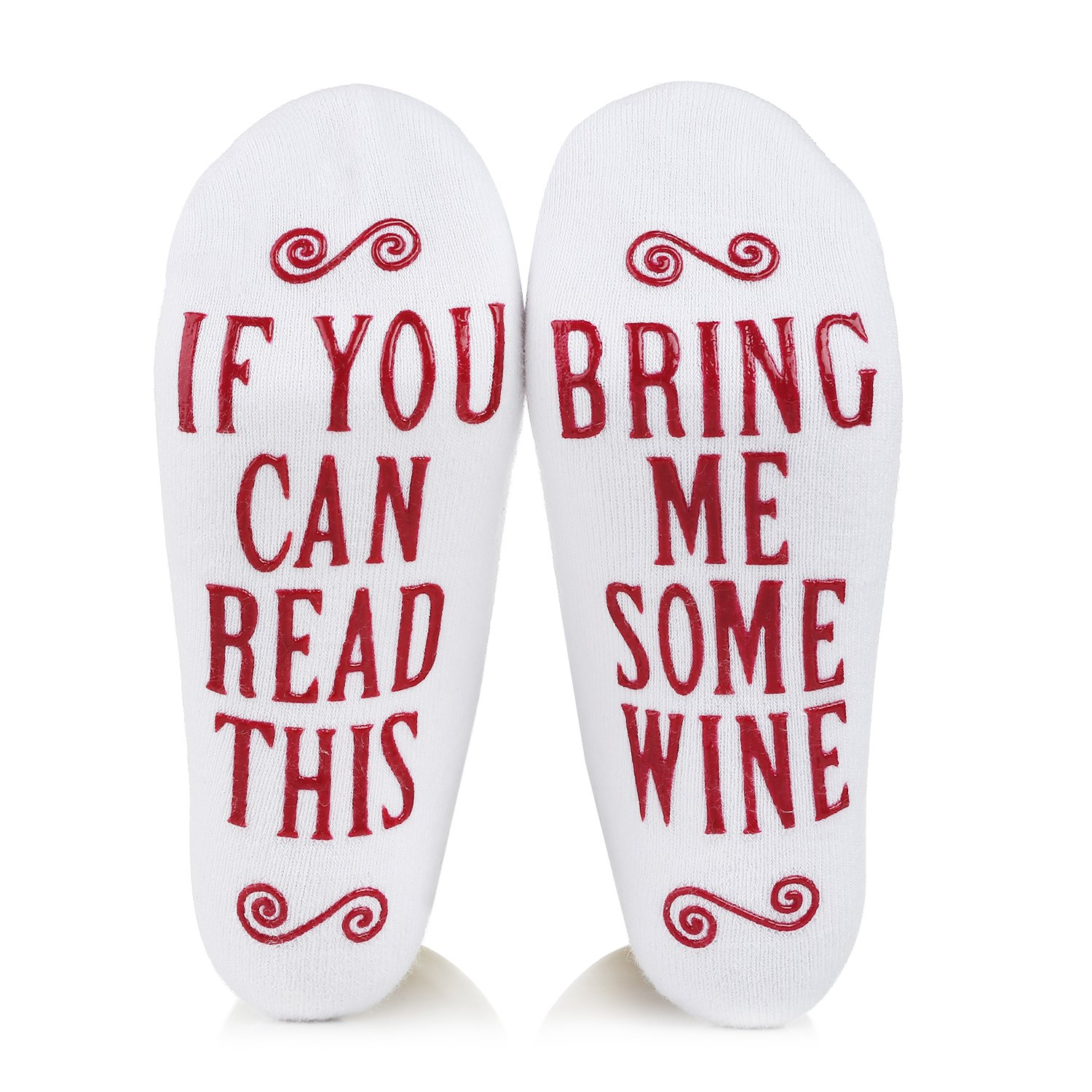 Wine Socks with Funny Words If You Can Read This, Valentine's Day, Christmas, Birthday, Stocking Stuffers for Women,Gifts for Mom Her Wine Lover Wife Friends (white)