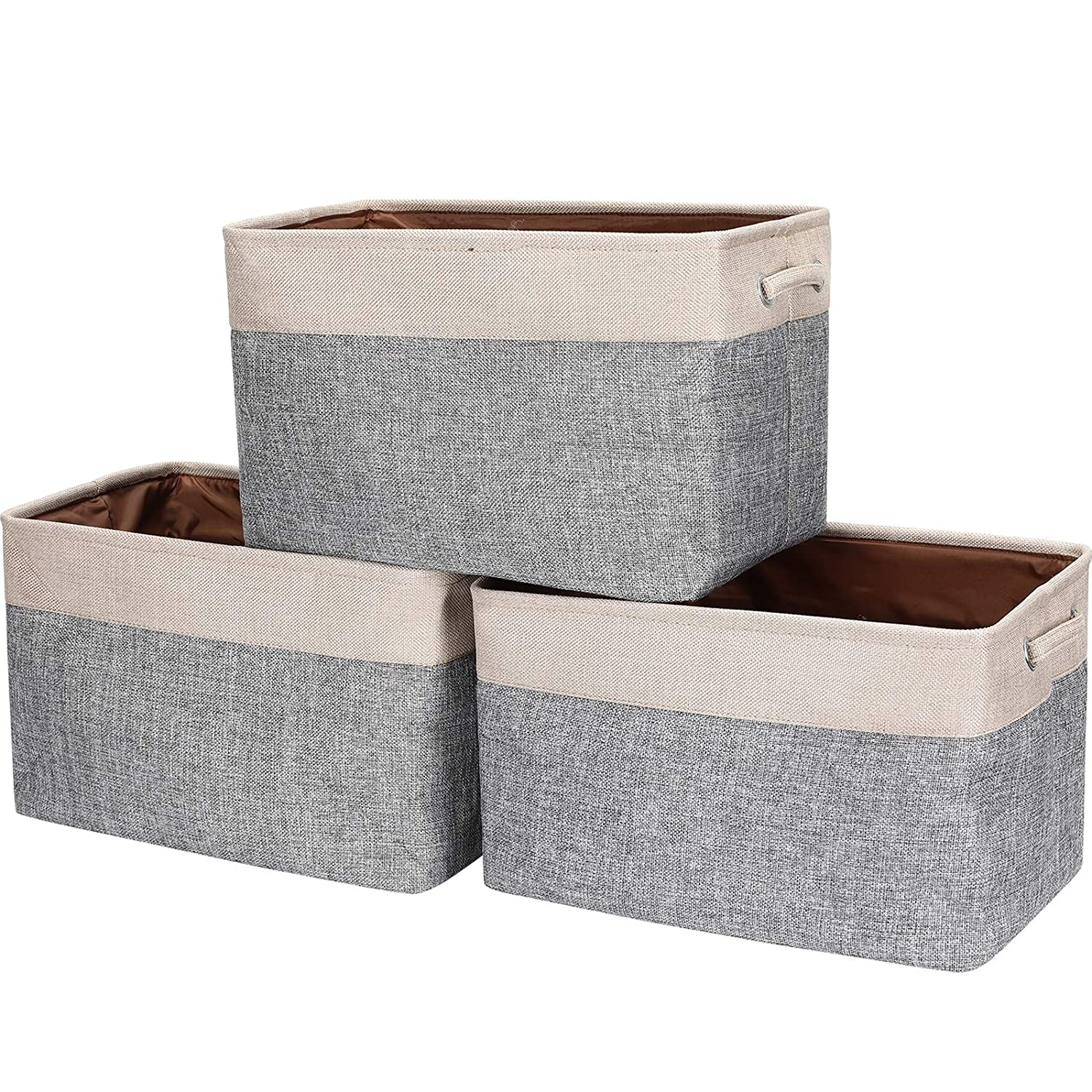 HOKEMP Foldable Storage Bins [3-Pack] - 15 x 11 x 9.8 inch Fabric Storage Basket Collapsible Durable Organizer Bin with Carry Handles for Nursery, Home Closet, Toys, Towels, Laundry - Beige & Gray